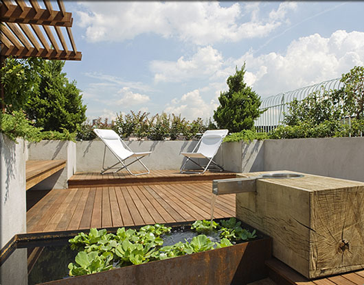 Modern rooftop patio gardens revive landscape design for Rooftop landscape design